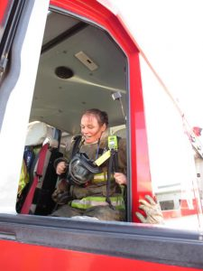 Kristin Fire Fighter in truck action